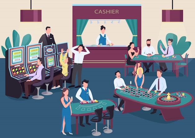 Casino kleur illustratie. mensen spelen poker aan tafel. man draai roulettewiel. vrouw bij gokautomaat. gokker stripfiguren in interieur met kassier op achtergrond