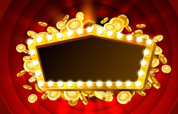 Casino lamp frame met gouden realistische munten achtergrond