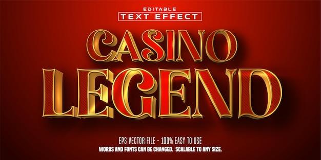 Casino legend-tekst, glanzende gouden kleurstijl, bewerkbaar teksteffect
