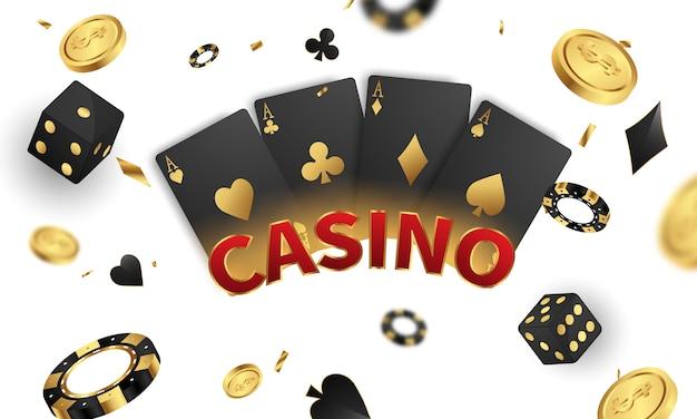 Casino luxe vip-uitnodiging met confetti viering partij gokken banner achtergrond.