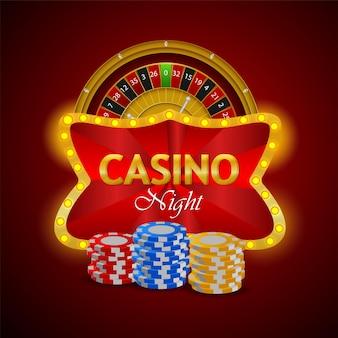 Casino met kleurrijke chips en roulette