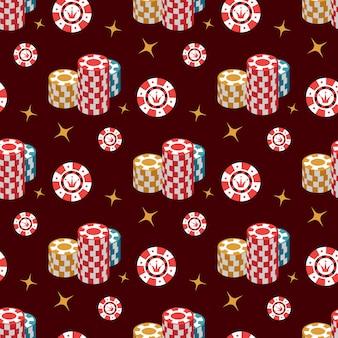 Casino naadloos patroon met spaander en sterren