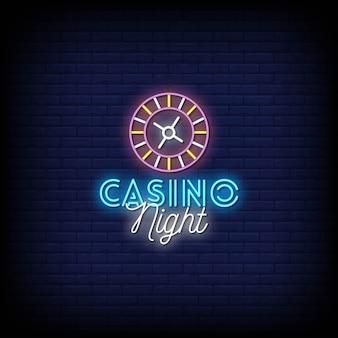Casino nacht neonreclames stijl tekst
