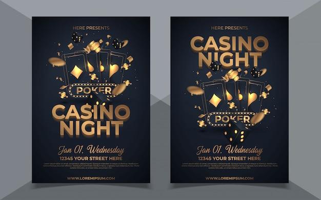 Casino nacht partij sjabloonontwerp met casino element op glanzende zwarte achtergrond en locatie details.