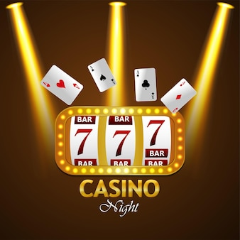 Casino night party achtergrond met creatieve gokautomaat, speelkaarten