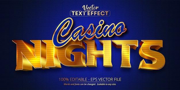 Casino nights-tekst, glanzend gouden en blauw bewerkbaar teksteffect