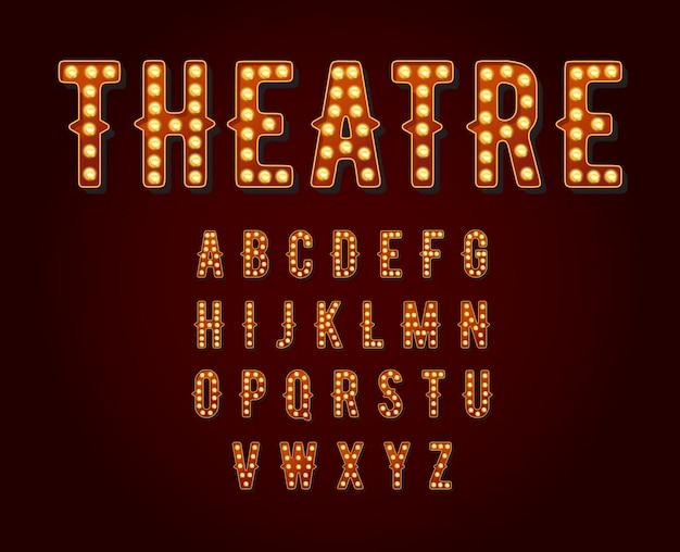 Casino of broadway tekenen stijl gloeilamp alfabet.
