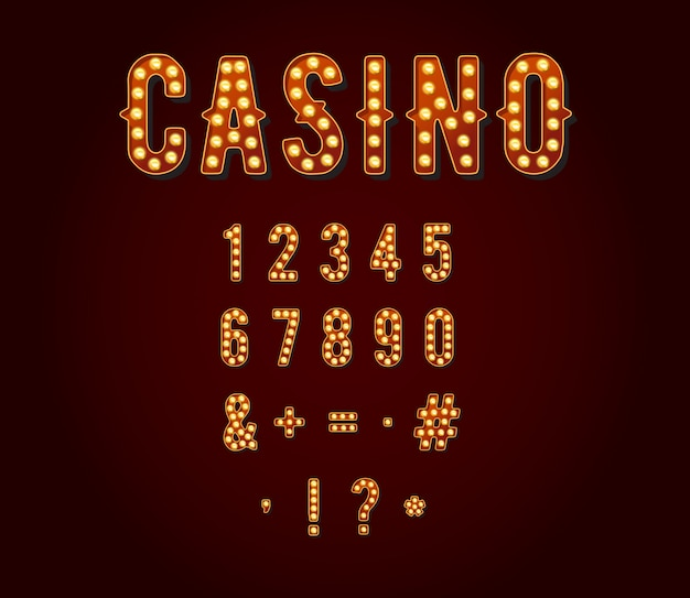 Casino of broadway-tekens stijl gloeilamp cijfers of cijfers