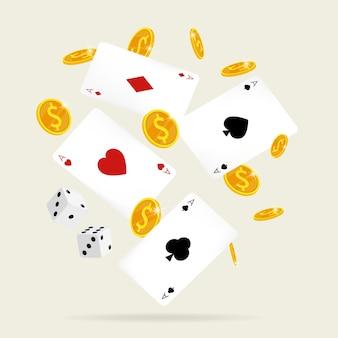 Casino online kaart & dobbelstenen munten vector