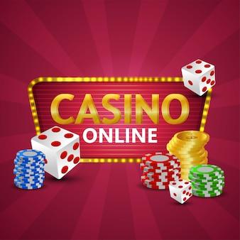 Casino online realistische illustratie met gouden munten, chips en poker dobbelstenen
