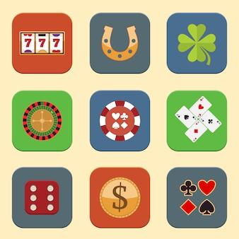 Casino ontwerp iconen