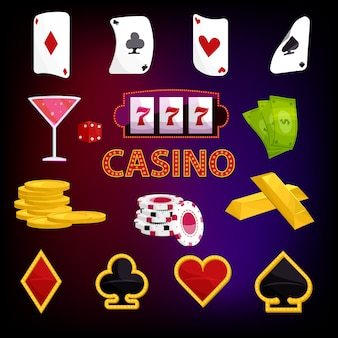 Casino pictogrammen instellen, cartoon stijl