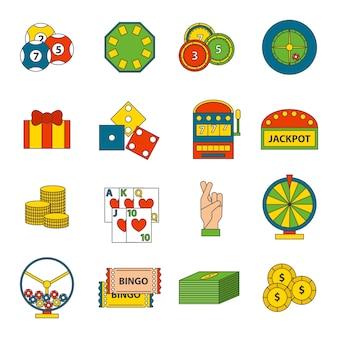 Casino pictogrammen instellen met roulette gokker joker gokautomaat geïsoleerd