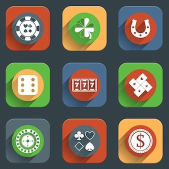 Casino platte pictogram ontwerpelementen