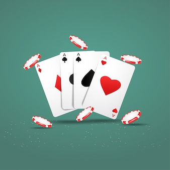Casino poker design met speelkaarten en chips