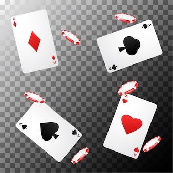 Casino poker design met speelkaarten en chips