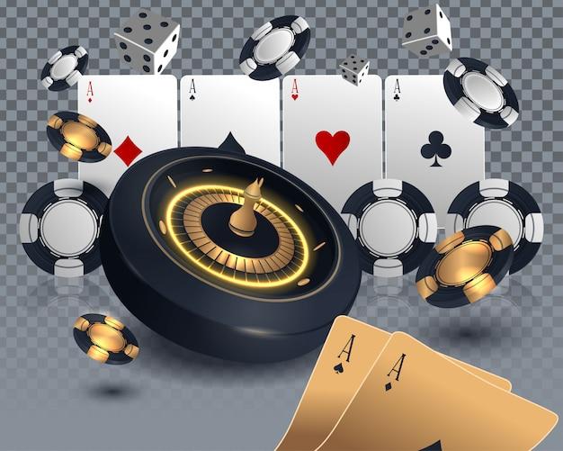 Casino poker kaart en roulettewiel ontwerp