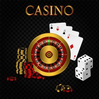 Casino poker ontwerpsjabloon. vallende pokerkaarten en chips spelconcept. casino roulette