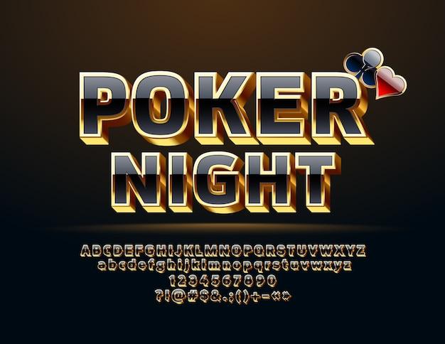 Casino poker. set van zwarte en gouden letters, cijfers en symbolen. chique 3d-lettertype