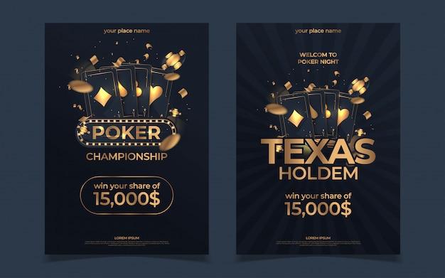Casino poker toernooi uitnodiging ontwerp. gouden tekst met speelchip en kaarten. poker feest a4 folder sjabloon.