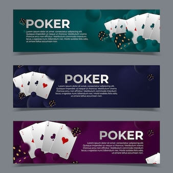 Casino poker webbanners sjablonen.