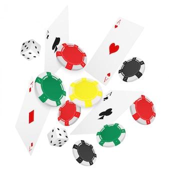 Casino poker zwevende kaarten en fiches