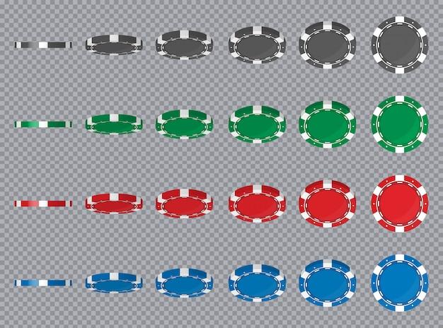 Casino pokerfiches draaien verschillende hoeken positie.