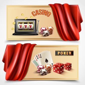 Casino realistische banner set