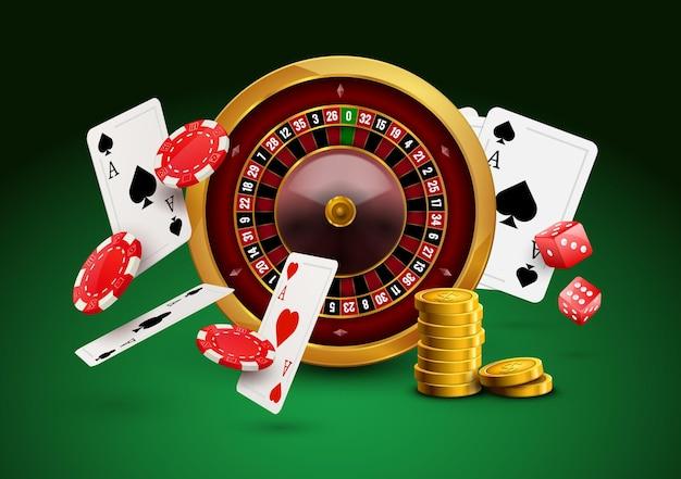 Casino roulette met fiches, rode dobbelstenen realistische gokken poster banner. casino vegas fortuin roulettewiel ontwerp flyer.