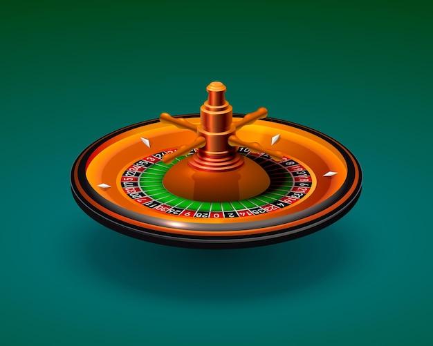 Casino roulette object realistisch op de groene achtergrond. vector illustratie