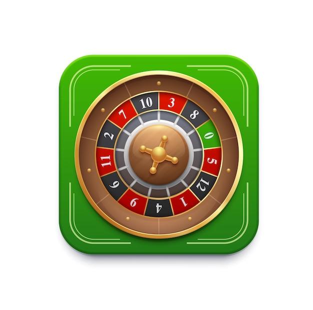 Casino roulette spel wiel 3d vector pictogram, spin