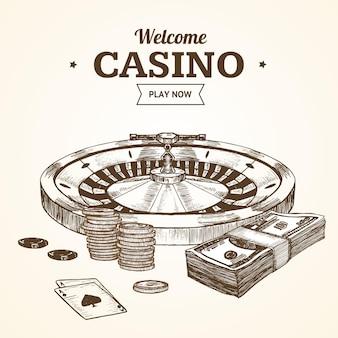 Casino roulette wiel hand loting schets vintage retro stijl.