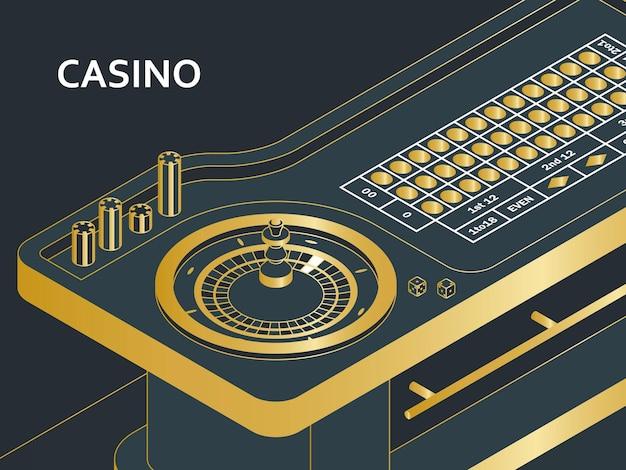 Casino roulettetafel in isometrische vlakke stijl. wiel, chips en dobbelstenen. vector illustratie.
