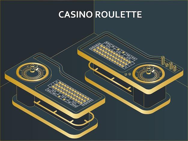 Casino roulettetafel in isometrische vlakke stijl. wiel, chips en dobbelstenen