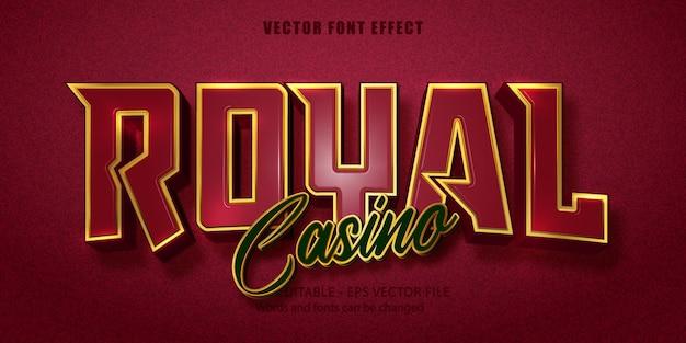 Casino royal-tekst, bewerkbaar teksteffect in gouden stijl