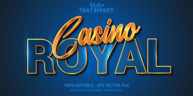 Casino royal-tekst, glanzend gouden en blauw bewerkbaar teksteffect