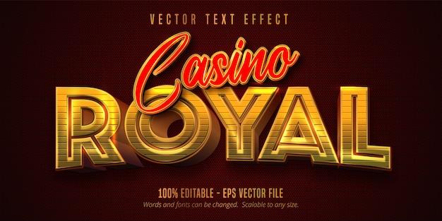 Casino royal-tekst, glanzend gouden en rood bewerkbaar teksteffect