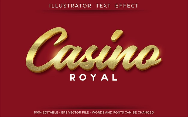 Casino royal teksteffect, bewerkbare 3d-tekststijl