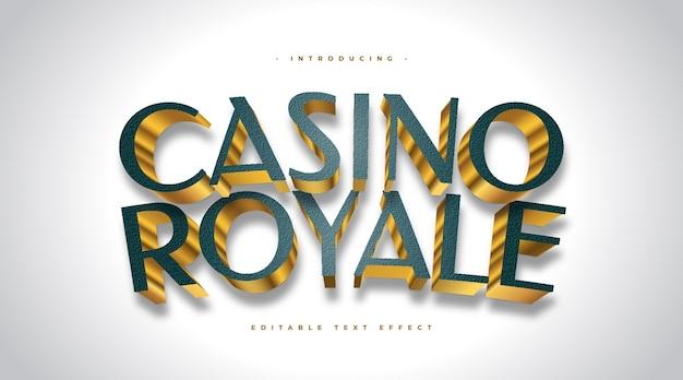 Casino royale-tekst in groene en gouden stijl met 3d-effect