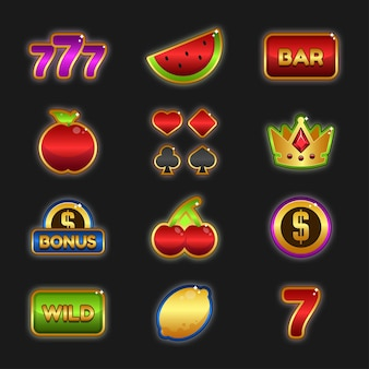 Casino set ontworpen game user interface (gui) illustratie voor videogames