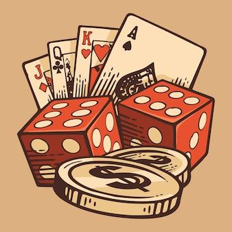 Casino set vintage handgemaakte symbolen. retro ontwerp.