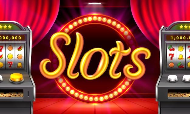 Casino-slots draaien podiumscène spel vector