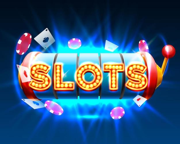 Casino slots jackpot 777 uithangbord. vector illustratie