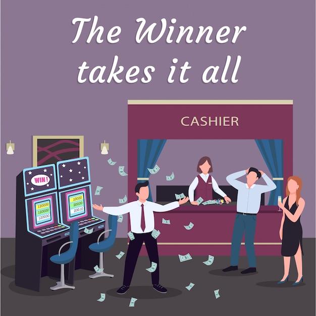 Casino social media post. winnaar neemt het allemaal. ontwerpsjabloon voor web-banner. slotmachine play booster, inhoud layout met inscriptie.