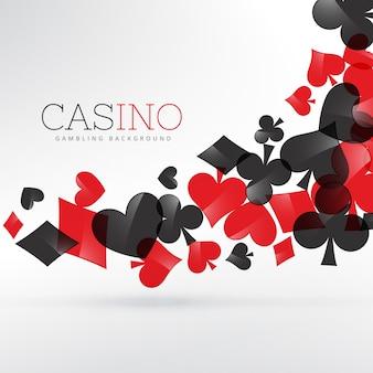 Casino speelkaarten symbolen drijvend in grijze achtergrond