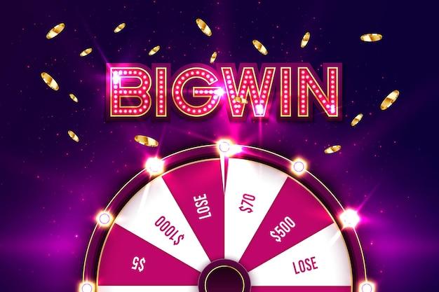 Casino spinnen fortuin wiel banner. roulette, jackpot big win.