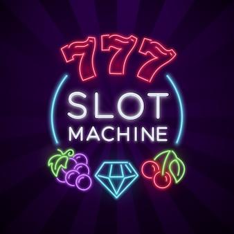 Casino-vegas met gokautomaat heldere neonpictogrammen