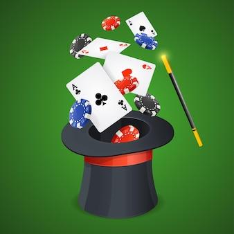 Casino win conceptkaarten en fiches met magici-hoed.