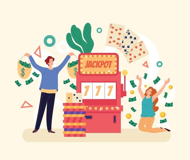 Casino winnaars mensen karakters concept. eenvoudige moderne stijl grafisch ontwerp illusration