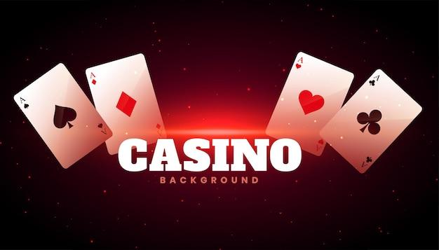 Casinoachtergrond met ontwerp van aaskaarten